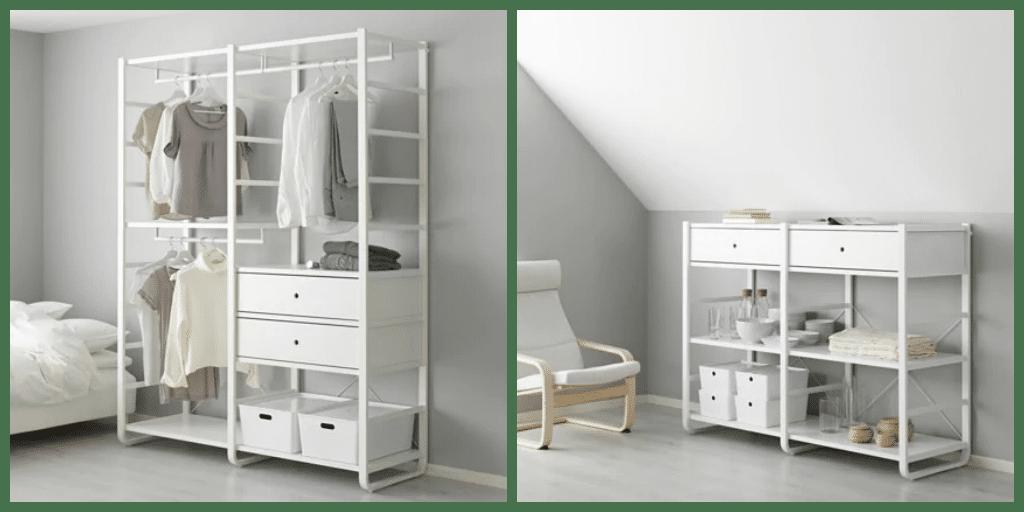Sistema Elvarli di Ikea montanti bianchi con cassetti e mensole