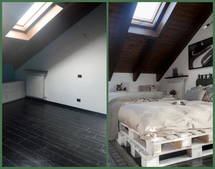 prima e dopo della camera da letto in mansarda con dettaglio letto fatto con pallet.