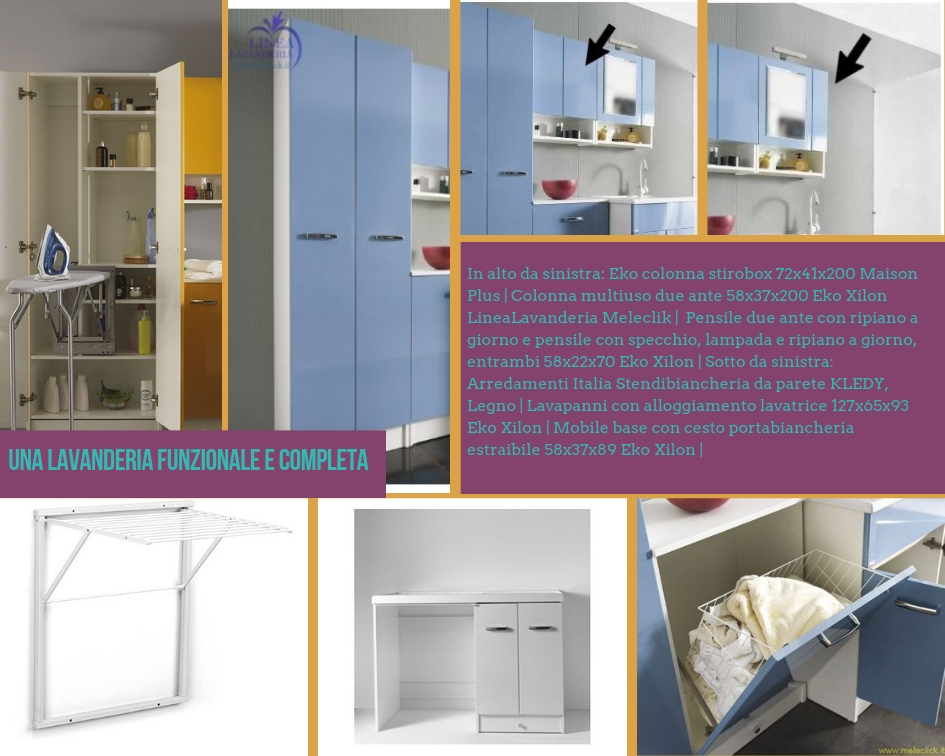 Moodboard per mobili della lavanderia con colonna stireria, colonna multifunzione a due ante, pensili con ripiani a giorno, cesto portabiancheria, stendipanni da parete e mobile coprilavatrice