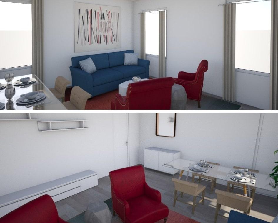 Viste prospettiche del soggiorno  quadrato con dettaglio sui divani nella foto sopra e sul tavolo da pranzo nella foto sotto.