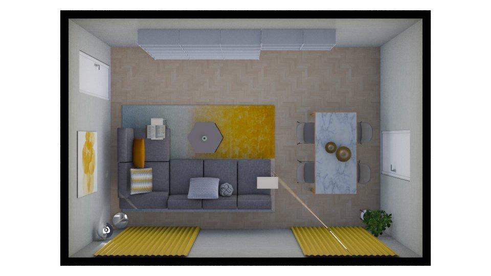 Pianta di un soggiorno rettangolare con divano ad L, parete libreria e tavolo da pranzo in marmo con accessori giallo senape.