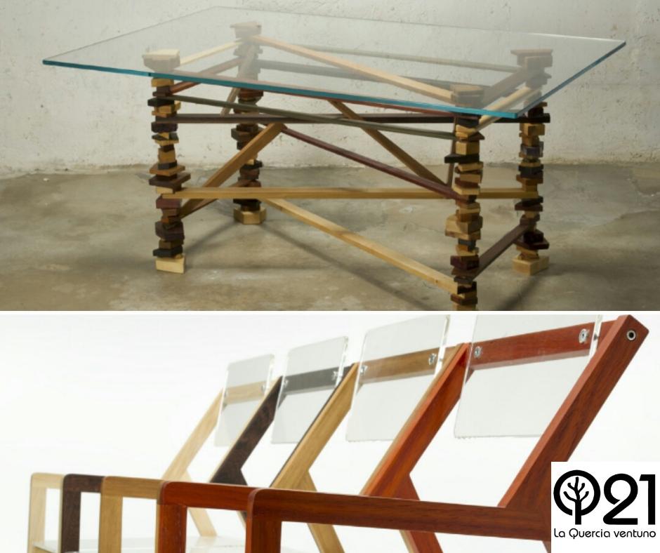 Tavolo Stalagmite con struttura composta da pezzi di legno differenti e piano in vetro temperato e sedia Blocco 55 con struttura in legno e piani in plexiglass