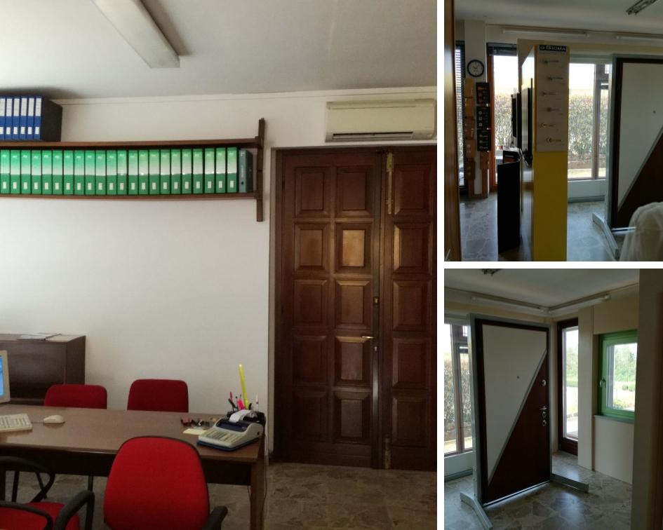 Falegnameria Adda prima dellìintervento di riqualificazione con dettaglio dell'ufficio e della zona espositiva delle porte