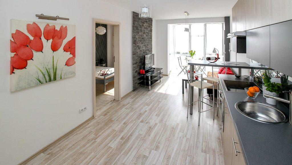 Pannelli di legno economici per cucina lineare grigia