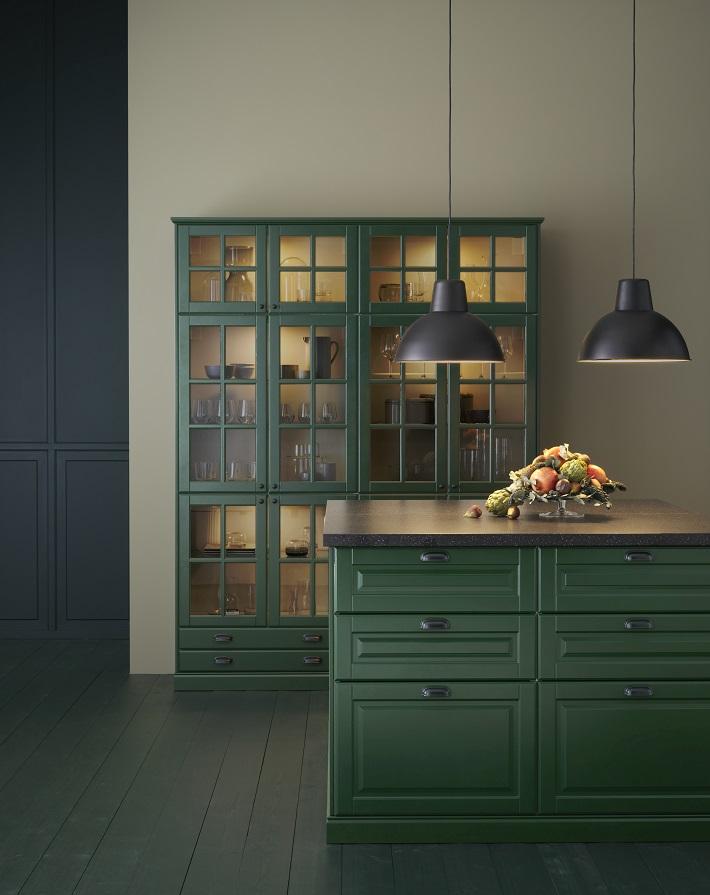 Cucina in stile rustico Verde sottobosco