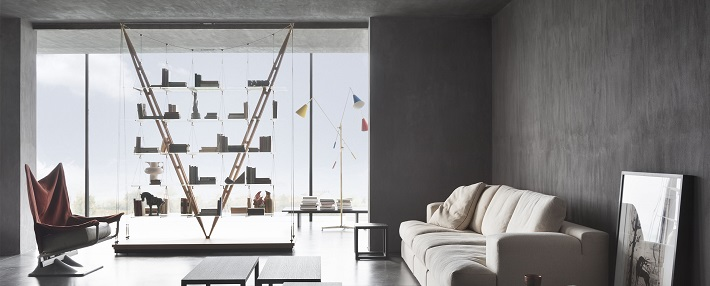icone del design: libreria Veliero in frassino, acciaio e vetro