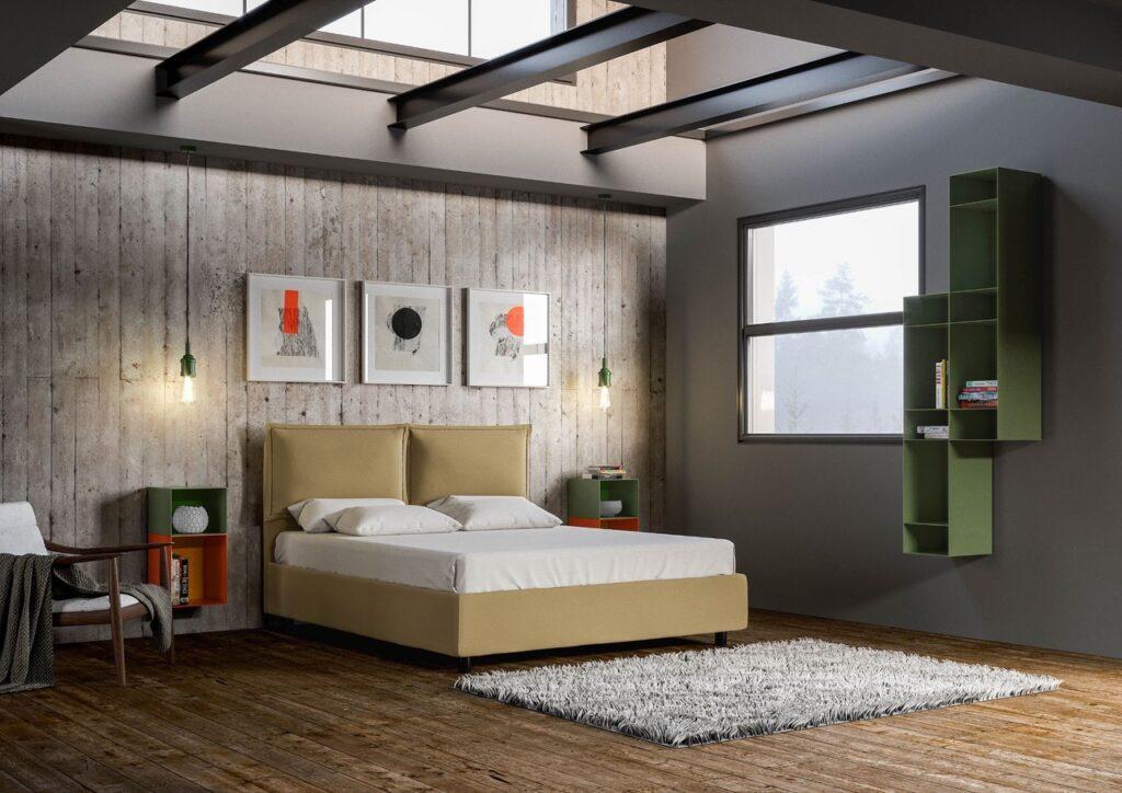 soluzioni per camere da letto piccole: recuperare spazio con un letto contenitore in tessuto beige in camera in stile industriale