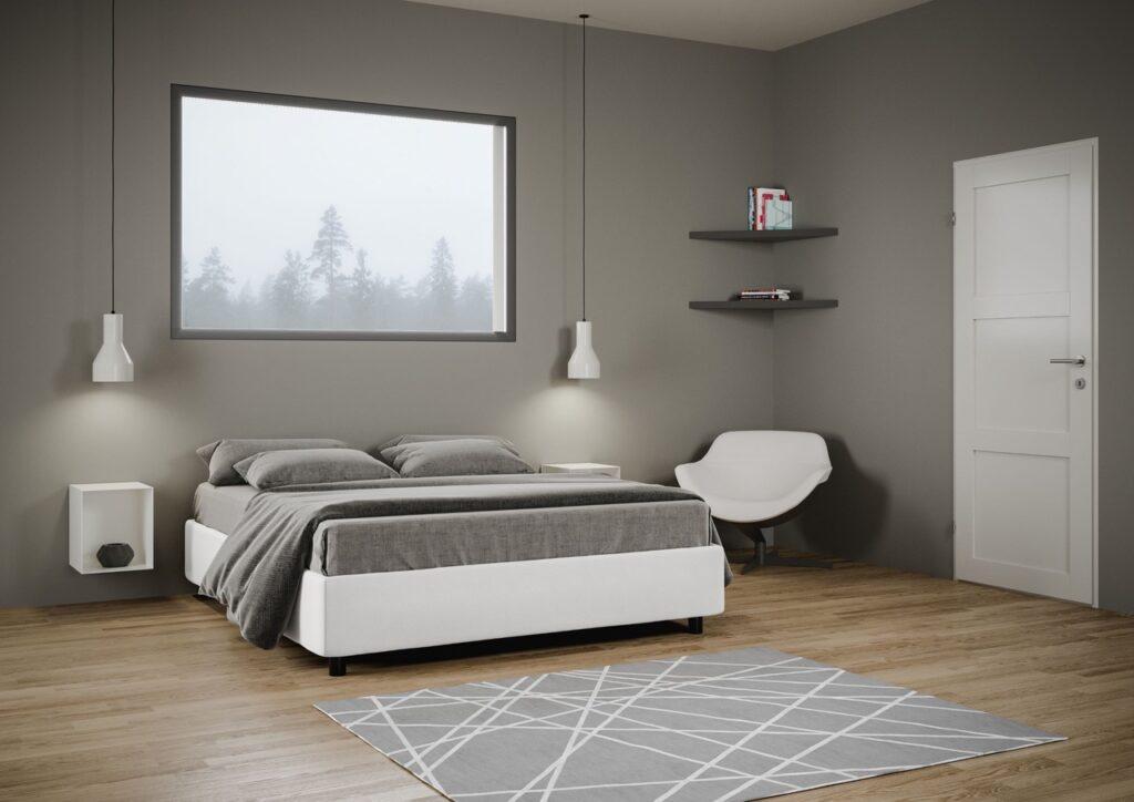 soluzioni per camere da letto piccole: letto contenitore senza testata, bianco