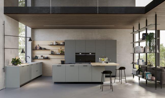 cucina componibile moderna con isola, top in Okite e ante in melamminico grigio