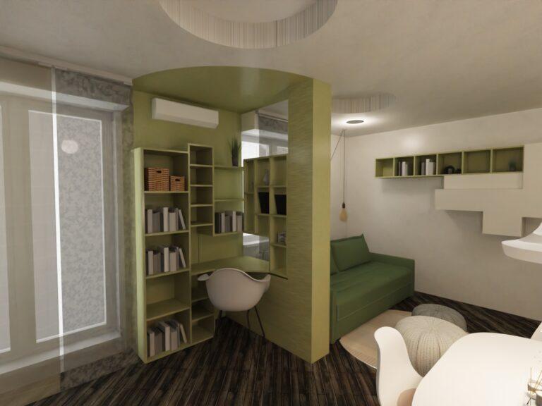 arredamento soggiorno con sala da pranzo angolo scrivania
