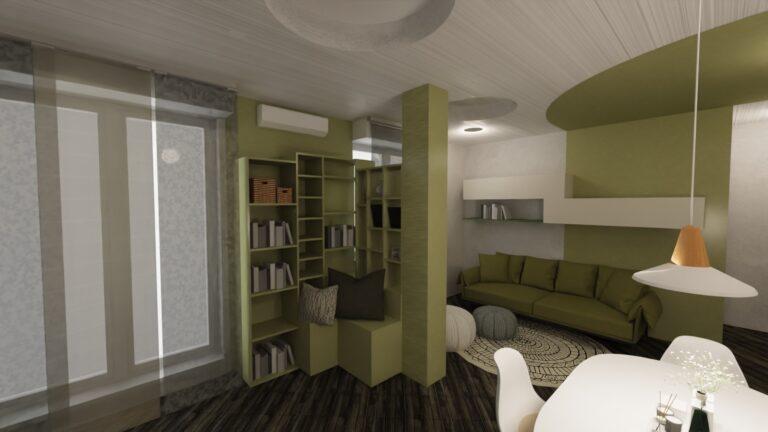 arredamento soggiorno con sala da pranzo angolo lettura