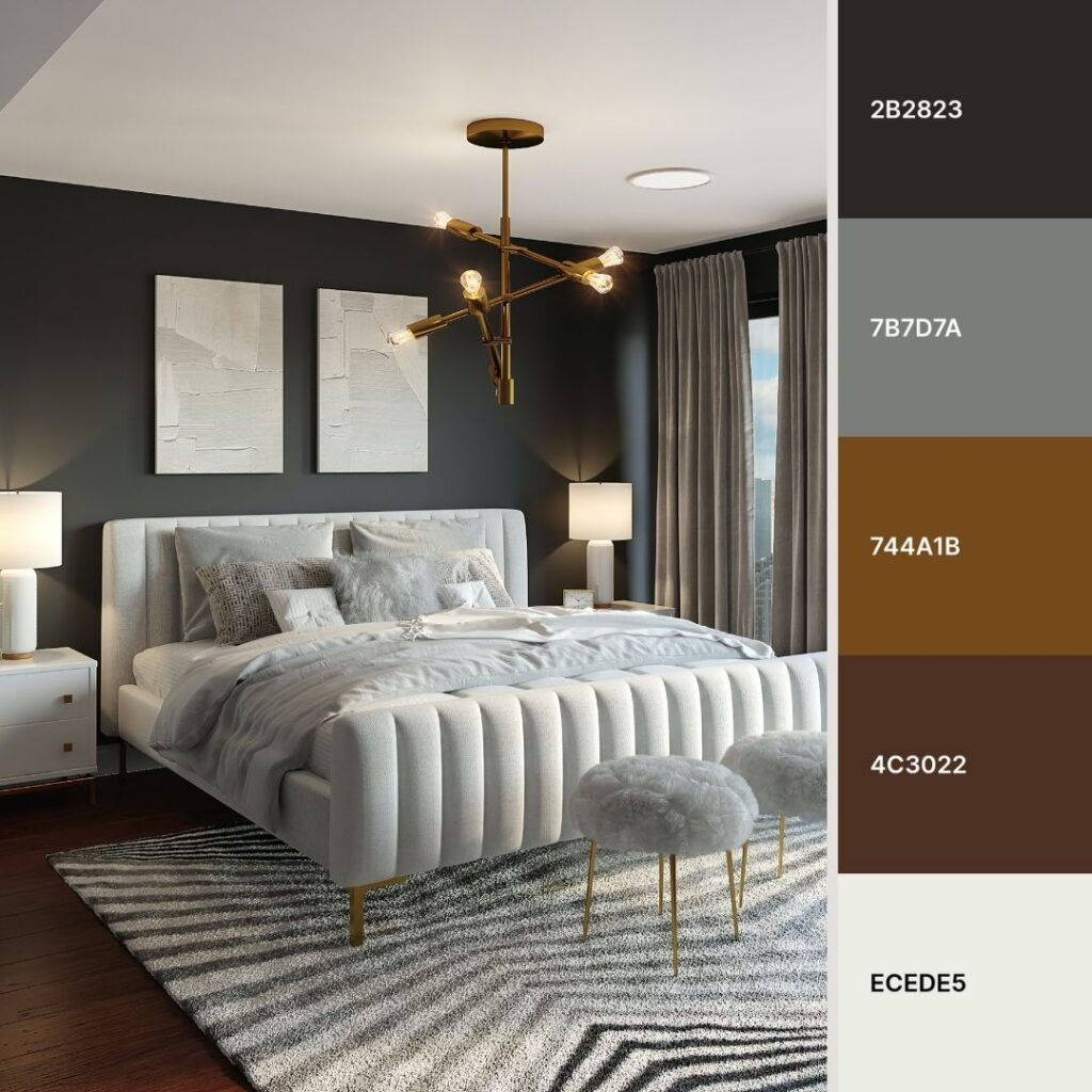 camera da letto classica in grigio scuro e tonalità di grigio chiaro