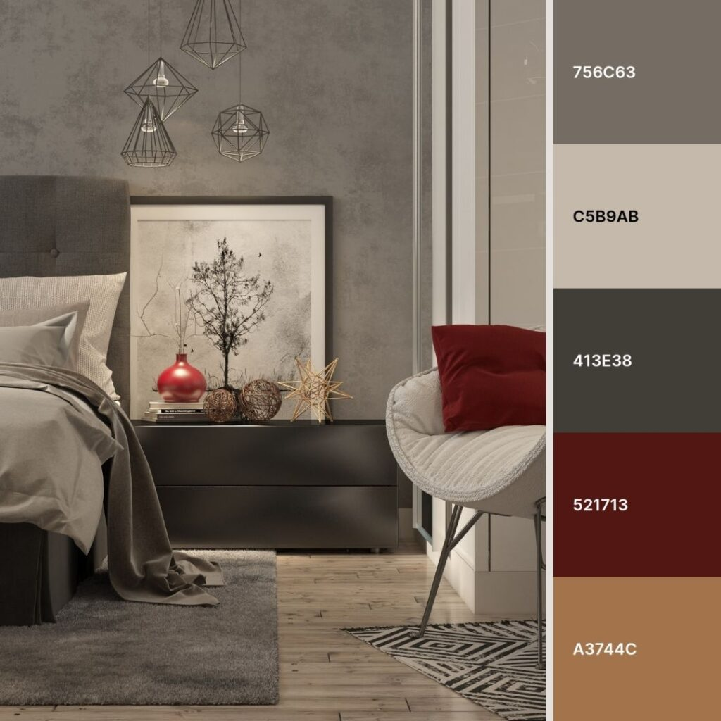 colori da abbinare al grigio in camera da letto