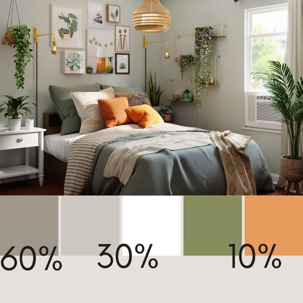 colori interni casa in camera da letto eclettica