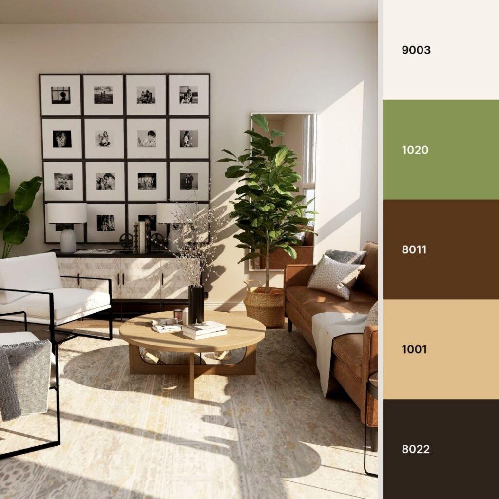 soggiorno bianco e nero con accenti  in legno