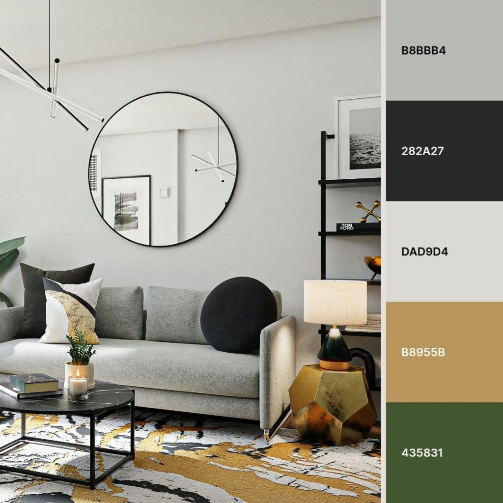 soggiorno in grigio, oro e alluminio nero