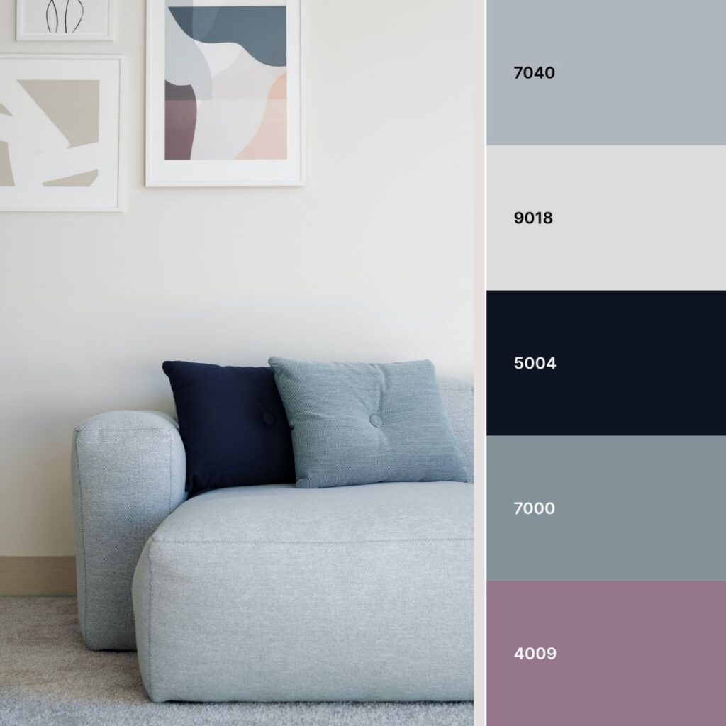 soggiorno nordico con divano azzurro