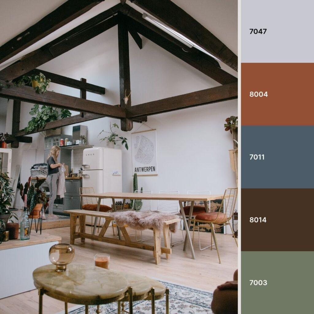 soggiorno open space stile industriale con dettagli vintage